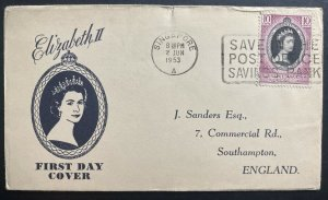 1953 Singapore first day cover to England Queen Elizabeth II Coronation FDC QE2
