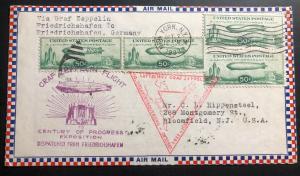 1933 New York USA Graf Zeppelin cover LZ 127 To German Century Of Progress