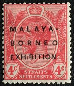 Malaya-Borneo Exhibition opt Straits Settlements KGV 4c MCCA MNG short I SG#242h