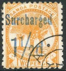Samoa SG75 1 1/2d on 2d Orange Cat 7.5 pounds