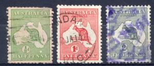 Australia Sc# 1-3 SG# 1-3 Used 1913 Kangaroo & Map
