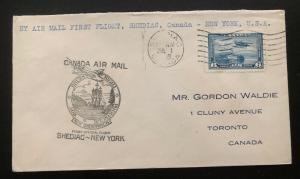 1939 Shediac Canada to New York USA  FFC airmail First Official Flight Cover