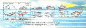 Greenland #402a, Complete Set, Souvenir Sheet Only, 2002, Ships, Marine Life,...