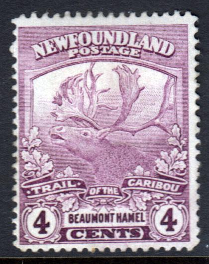 Newfoundland GV 1919 4c Purple SG133a Mint No Gum MNG