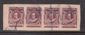 Newfoundland #98 Very Fine Used Strip Of Four On Piece