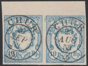 SWITZERLAND  An old forgery of a classic stamp - pair.......................B197