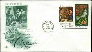 US FDC #1444 & #1445 Green Artcraft Cachet Washington, DC Christmas