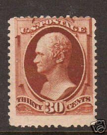 US Sc 217 MLH. 1888 30c Hamilton, scarce