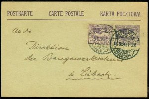 EDW1949SELL : UPPER SILESIA Scarce Uprated 1920 Post Card to Lubeck.