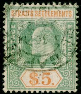 MALAYSIA - Straits Settlements SG138a, $5 USED. Cat £180. WMK MULT CA (C)