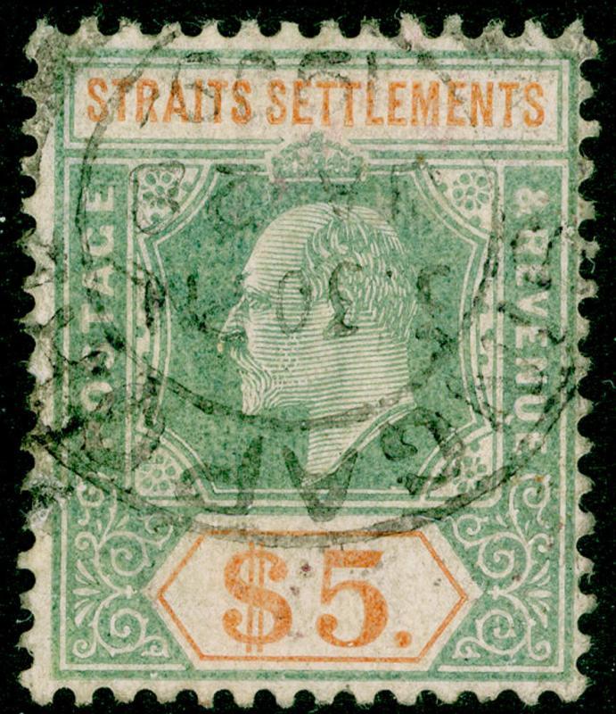 MALAYSIA - Straits Settlements SG138a, $5 USED. Cat £180. WMK MULT CA (C)
