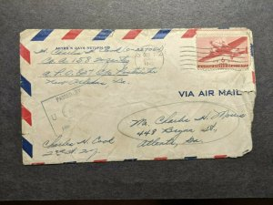 APO 827 FORT CLAYTON, CANAL ZONE 1942 Censored WWII Army Cover 158 Inf w/ letter