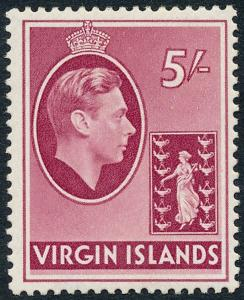 British Virgin Islands 1942 5s Carmine SG119a Ordinary Paper MH