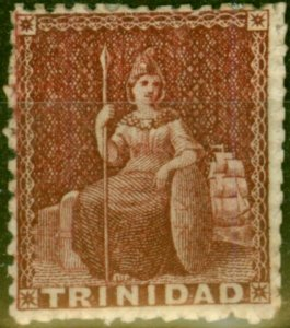 Trinidad 1863 (1d) Lake SG69 Good Mtd Mint