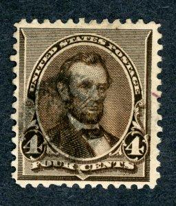 #222 – 1890 4c Lincoln, dark brown. Used.