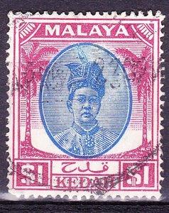 MAYALA KEDAH 1950 $1 Blue & Purple SG88 Fine Used