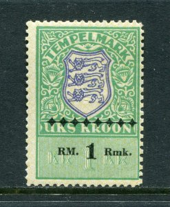 x366 - ESTONIA 1940s Germany Occupation Revenue Stamp 1RM Overprint Fiscal MNH