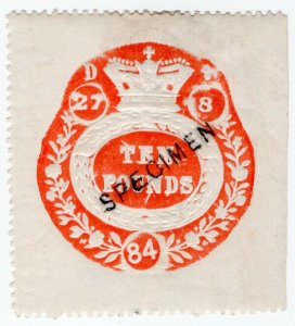 (I.B) QV Revenue : General Duty Adhesive £10 (specimen) inverted watermark