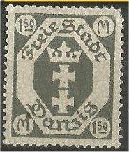 DANZIG, 1922, MNH 1.50m Arms, Scott 84