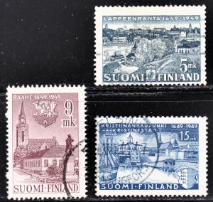 Finland Scott 285-287  complete set  F to VF used.