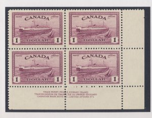 Canada Plate Block Stamp #273-$1.00 MH Top 2 VF Guide Value = $250.00