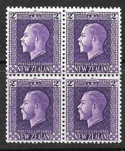 NEW ZEALAND 1915  2d  ANALINE VIOLET KGV  MNH/MLH  P14x13 1/2  CP K2a3