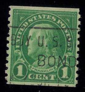 US SCOTT #597 USED BUY U.S. BONDS CANCELLATION VERY FINE