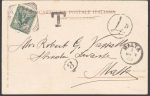 MALTA 1902 postcard ex Italy - scarce 4d in circle postage due mark.........5400