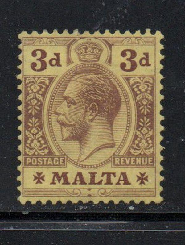 Malta Sc 54 1914 3 d George V stamp mint