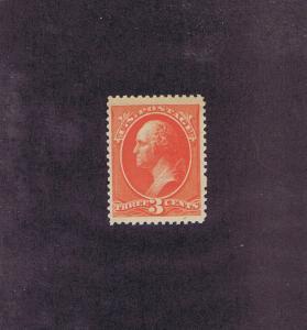 SCOTT# 214 UNUSED OG NH 3 CENT WASHINGTON, 1887, WEISS CERT, VF-XF, LOOK.