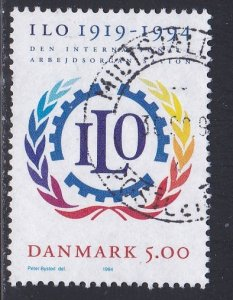 Denmark # 1011, ILO 75th Anniversary, Used, 1/2 Cat.