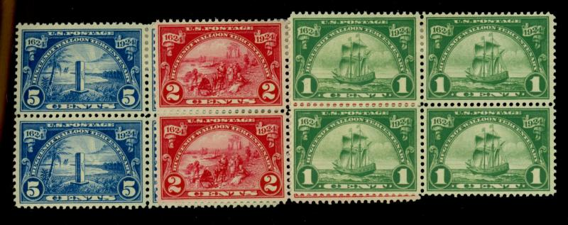 614-16 MINT Blocks F-VF OG Top HR Bottom NH Cat$128.50
