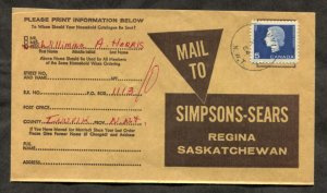 d100 - INUVIK NWT 1964 CDS on Simpsons-Sears Cover to Regina