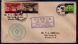 Philippines Censored WWII cover, addressed (1943)