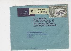 Brunei 1967 Airmail Registered Brunei Stamps Cover FRONT to London England 33232