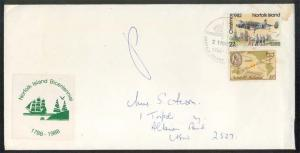 NORFOLK IS 1988 cover to NSW Bicentenary Cinderella and cancel............88527W