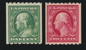 US 390-391 1c Franklin 2c Washington Mint F-VF OG LH SCV $47