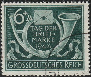 Stamp Germany Mi 904 Sc B288 1944 WWII Fascism Day Post Horn Letter Used