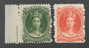 Canada-Nova Scotia Scott #11, 12  Mint NH  Scott CV $40.00
