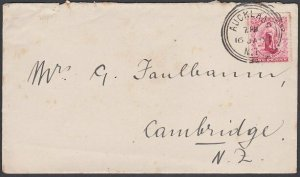 NEW ZEALAND 1903 1d Universal on cover Auckland to Cambridge................J940
