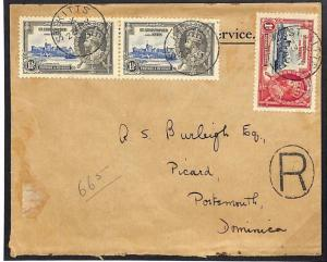 ST KITTS Registered 1935 Silver Jubilee Cover Commercial {samwells}W584a