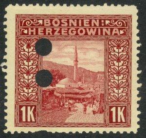 BOSNIA AND HERZEGOVINA 1906 1K Mosque Invalidation Punch Holes Sc 43 MH