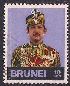 Brunei 1974 – 76 QE2 10 sen Sultan Bolkiah used ( F685 )