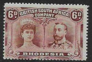 RHODESIA SG144 1910-3 6d RED-BROWN & MAUVE MTD MINT