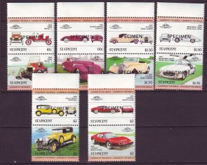 J24517 JLstamps 1983 st vincent specimen set pairs mnh #687-92 cars autos