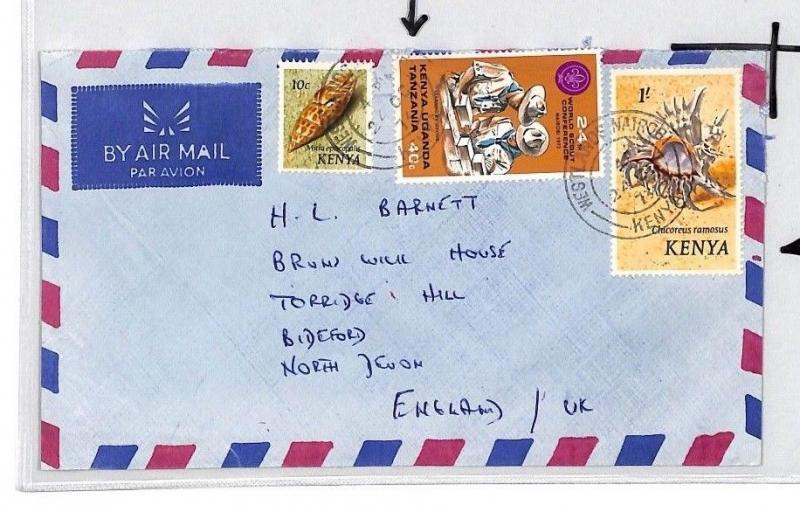 CE190 KENYA Shells KUT 40c SCOUTS Mixed Franking 1973 Air Mail Cover Bideford