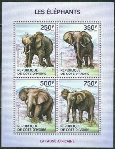 IVORY COAST 2014 FAUNA OF AFRICA ELEPHANTS SHEET OF FOUR STAMPS
