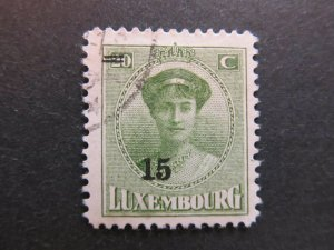 A4P27F86 Letzebuerg Luxembourg 1925-28 surch 15c on 20c used