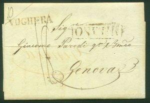 ITALY-Milano 1828 FOLDED LETTER TO GENEVA WITH VOGHERA TRANSIT. F-VF  (83-78)