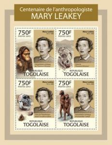 TOGO 2013 SHEET MARY LEAKEY PREHISTORIC MEN tg13302a